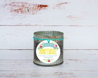 Honeysuckle Soy Wax Candle in 12 oz. Zinc Jar - Floral Candle, Honeysuckle Candle, Summer, Housewarming, Home, Hostess Gift