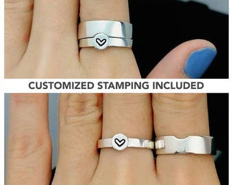 Matching Promise Rings For Couples, His and Her Promise Rings, Couples Rings, Wedding Ring Set, Sterling Silver Matching Couples Ring Set