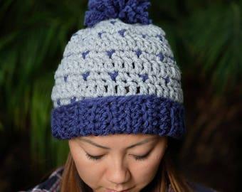 Knit Beanie with Pom Pom / Slouchy Beanie / Fair Isle Beanie / Knit Toque / Cozy Beanie / Warm Hat / Winter wear / Gift for her/ Christmas