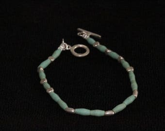 Turquoise and silver beads bracelet (B0027)