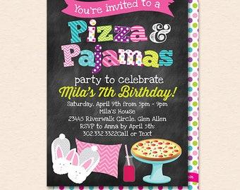 Pizza and Pajamas Invitation - Pizza and Pajamas Invite - Pizza Pajamas Party - Chalkboard - Printable, Instant Download, Editable, PDF