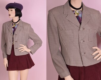 80s Brown and Cream Lightweight Tweed Jacket/ Medium/ 1980s