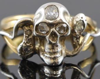 Victorian memento mori diamond skull & snake ring