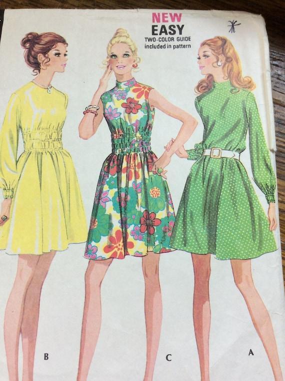 Vintage McCalls dress pattern, McCalls 2386, 1970's dress pattern, vintage pattern,