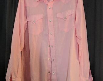 Vintage H Bar C Western Shirt Gabardine Pearl Snap Rockabilly Pink Button Down size Large