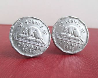 Canadian Beaver Nickel Coin Cuff Links - Repurposed Vintage Canada 1940's Coins