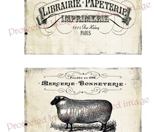 Vintage Black and White French  Labels   * Instant Download   #550