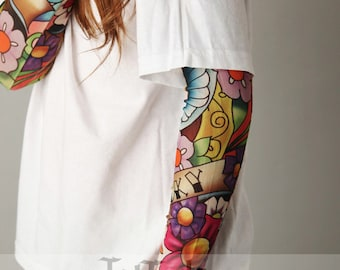 Tattoo Sleeve Flower Bird White Shirt for Girls