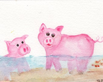 Swimming pigs original watercolor painting, animals watercolor painting original 4 x 6, pigs painting, pig watercolor art, pig decor