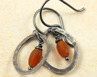 Carnelian Sterling Silver Oxidized Dangle Earrings