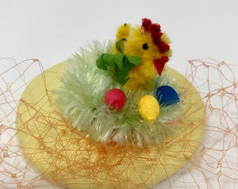 Spring Chicken Fascinator with Birdcage Veil