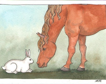 Original Watercolor Rabbit Painting - White Rabbit and Pony