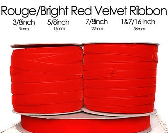 Rouge - Bright Red Nylvalour Swiss Velvet Ribbon - 3/8inch, 5/8inch, 7/8inch, 1&7/16inch - cherry red nylon velvet ribbon  (629)