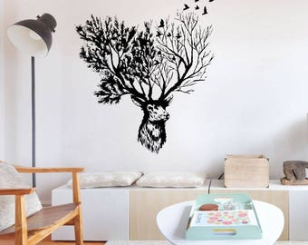 Stunning Moose and Tree Wall Mural Art Vinyl Decal