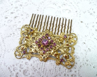 Vintage PURPLE RHINESTONE Antiqued Gold Hair Comb - vintage WEDDING - Bridal hair piece - Amethyst/plum color - gold tone  - antique look