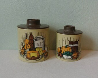 Vintage Retro Harvest Ransburg Nesting Kitchen Canisters