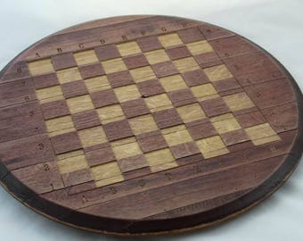 Napa Valley Wine Barrel Lid Carved Wood Chess Board