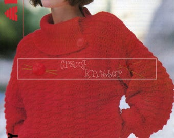 Lady's Split Collar Sweater 30-38in Chunky Patons 8194 Vintage Knitting Pattern PDF instant download