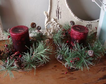 Christmas candle ring wreath glittered pine stems and berries woodland christmas candleholders centerpiece table decor mini wreath