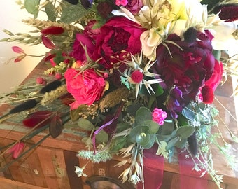Ruby Brides Bouquet, dried and silk flowers, boho wedding bouquet, rustic brides bouquet, cabbage roses, herbs and grasses
