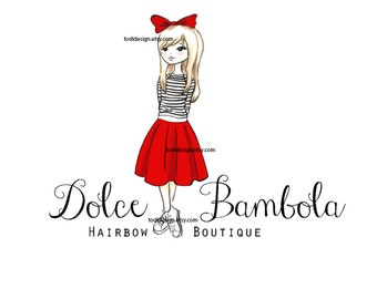 Dolce Bambola Boutique- Girls Couture -  Character Illustrated Predesigned Logo design