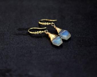 Gold Rainbow Moonstone Drop Earrings Wedding Bridal jewelry VitrineDesigns