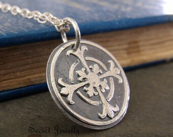 Fleur-De-Lis Necklace, Fine Silver Cross, Talisman, Wax Seal Jewelry, Silver Cross Pendant, Sterling Silver Chain, Wax Seal Necklace