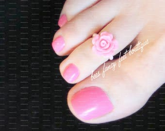 Pink Rose Toe Ring, Rose Toe Ring, Rose Ring, Ring, Pink Beads, Stretch Bead Toe Ring