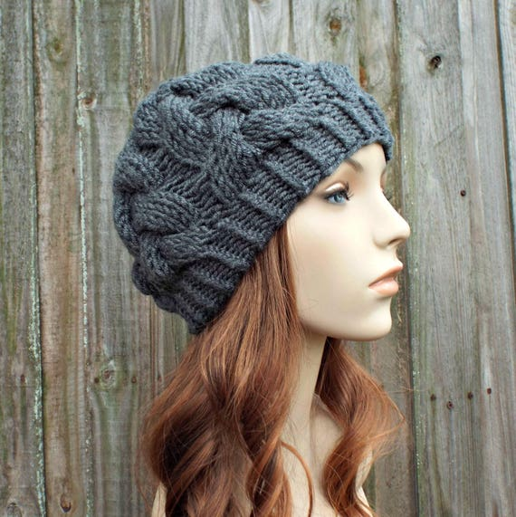 Charcoal Grey Knit Cable Beanie - Grey Womens Beanie - Grey Hat Grey Beanie Warm Winter Hat - Branch Cable Beanie