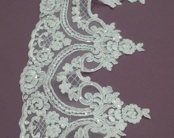 Beaded ivory lace trimming, Sequin lace trim, Pearl lace, French lace trim Chantilly lace, Bridal lace, Wedding lace, White lace L1129-2