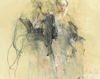 """Originalzeichnung, """"Hommage à Rodin V"""", Mischtechnik auf Papier, 32x36 cm"""