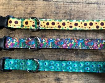 XS dog collars, XS Puppy collars, Floral Dog Collars, Sew Fetch Dog Collars, Sunflower Dog Collars, Peacock Dog Collar
