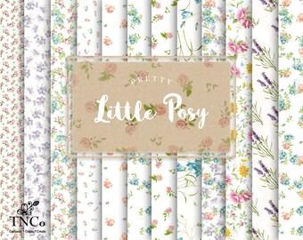 Floral patterned paper, Floral scrapbook paper, printable pretty paper, vintage floral paper, 12 x 12 paper, flower paper, commercial supply