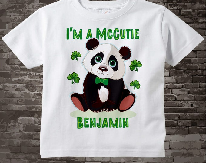 St Patrick's Day t-Shirt or Onesie Bodysuit | Personalized I'm a McCutie Panda Bear St Patricks day outfit top | 02172017b