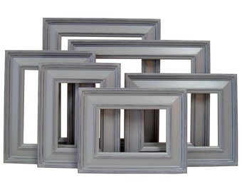 Picture Frame 6pc Picture Frame Set 8x10 5x7 4x6 Picture Frames Distressed Picture Frames Gray Decor or Custom Color Wedding Nursery Home