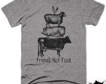 Vegan Shirt Tshirt T-shirt Tee Friends Not Food Vegetarian Vegan Top Herbivore Save Animals Gifts for Girlfriend Boyfriend Wife Veganism