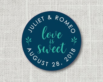 Love is Sweet Custom Wedding Stickers Candy Buffet Labels Treat Bag stickers
