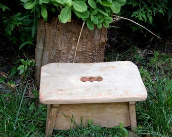 Primitive Rustic Farmhouse Wooden Stool , Bench Storage Seat ,Footstool , Rustic Cabin Cottage Decor