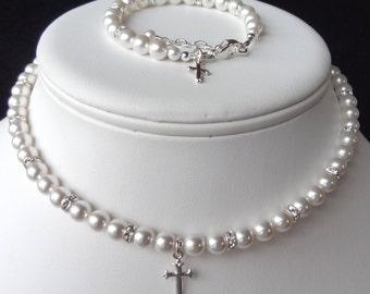 Elegant Children Swarovski Crystal Pearl and Rondelle With Cross  Necklace/Bracelet--SET, First Communion, Confirmation