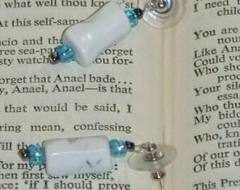 Howlite crystal blue earrings