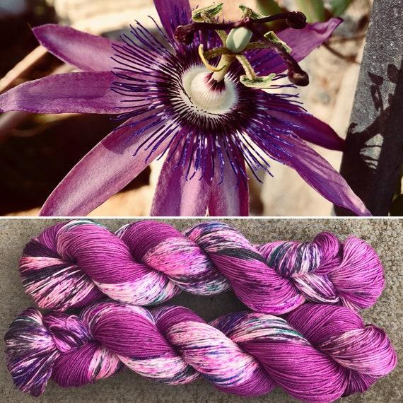Passiflora, speckled merino nylon blend purple sock yarn