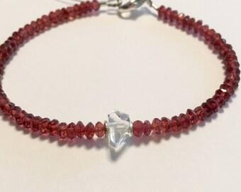Garnet bracelet. garnet and herkimer diamond bracelet, January birthstone bracelet, garnet stacking bracelet