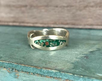 Size 7 Turquoise Sterling Silver Boho Chic Ring 3g