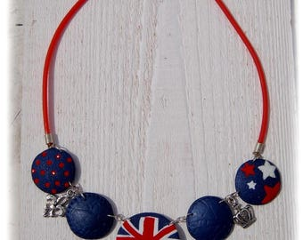 """So british!"" necklace with polymer clay"