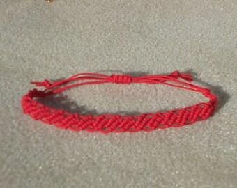 Macrame bracelet, red jewelry, micro macrame, knotted jewelry, boho jewelry, tribal, hippie, chic