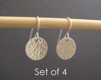 """bridesmaid earrings. SET OF 4. small silver hammered circle earrings. sterling silver dangle drop. simple bridal gifts. wedding jewelry 1/2"""""""