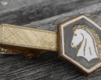Vintage Horse Gold Colored Enamel Tie Clip. 1960s. Gift for men, groomsmen, dads, grads, husbands, brothers, sons