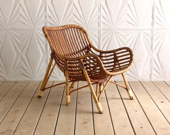 Danish Rattan Arm Chair By Laurids Lonborg Made In Denmark Six Legs Curved  Bamboo Cane Boho Wicker Mid Century Modern 60u0027s 70u0027s Retro RARE