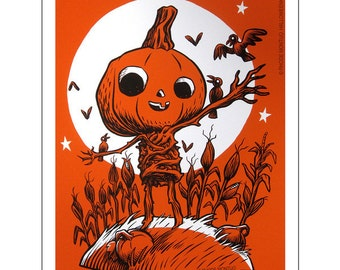 Kindcrow Limited Signed Scarecrow Halloween Screen Art Print by Rhode Montijo