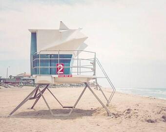 "California Beach Photography, Retro Beach Decor, San Diego Beach,  Blue Coastal Decor, Seaside, Beach Decor, Pastel Blue ""Tower #2"""